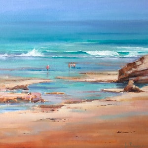 (CreativeWork) Sorrento Rockpools. by Vivi Palegeorge. oil-painting. Shop online at Bluethumb.