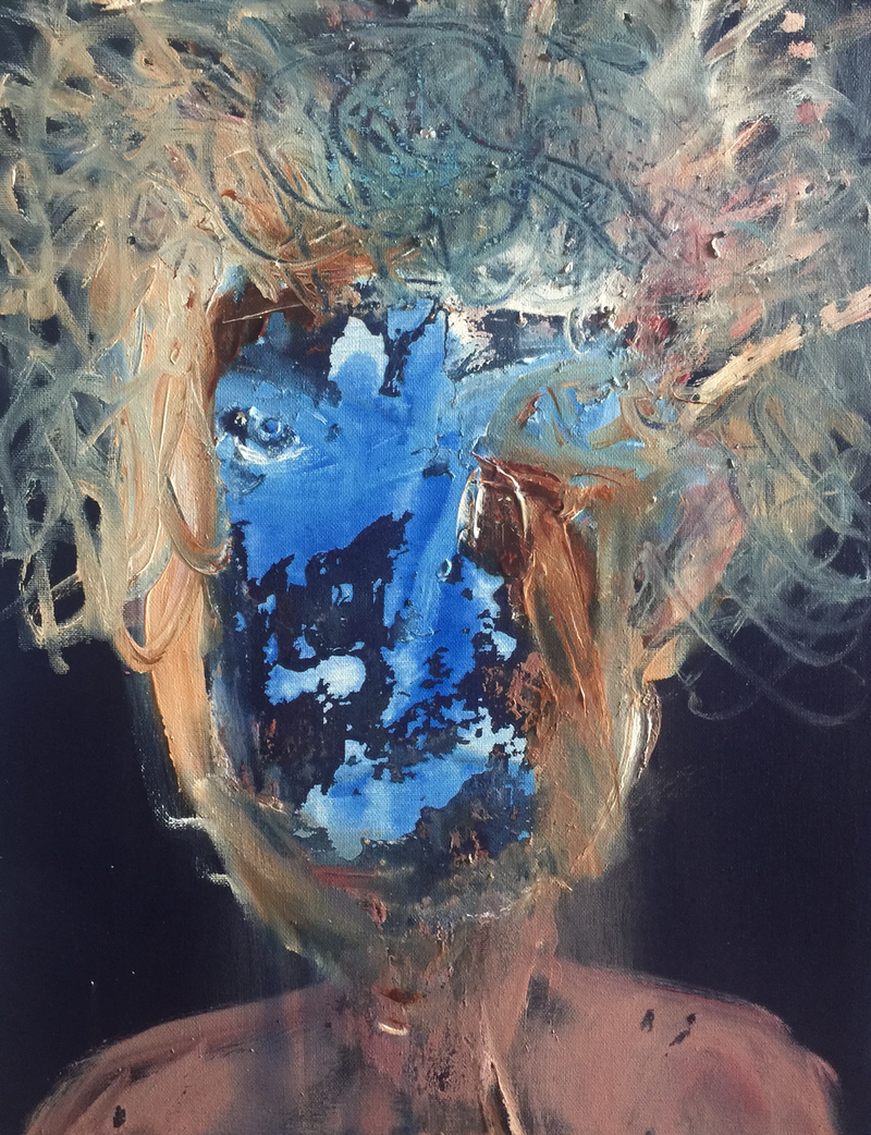 (CreativeWork) PORTRAIT IN BLUE by STEPHEN Homewood. arcylic-painting. Shop online at Bluethumb.