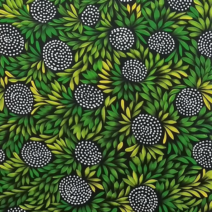 (CreativeWork) Bush Medicine Leaves & Meeting Place  by Louise Numina. arcylic-painting. Shop online at Bluethumb.