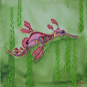 (CreativeWork) Sea Dragon by Ornella Imber. arcylic-painting. Shop online at Bluethumb.