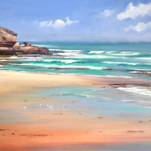(CreativeWork) Sorrento Back Beach. by Vivi Palegeorge. oil-painting. Shop online at Bluethumb.