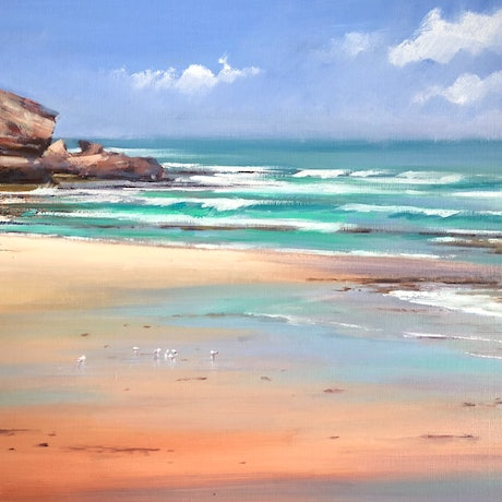 (CreativeWork) Sorrento Back Beach. by Vivi Palegeorge. Oil Paint. Shop online at Bluethumb.
