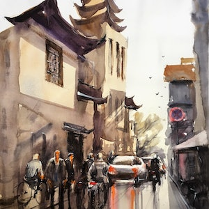 (CreativeWork) Streetscape 01 by Phuong Ly. watercolour. Shop online at Bluethumb.