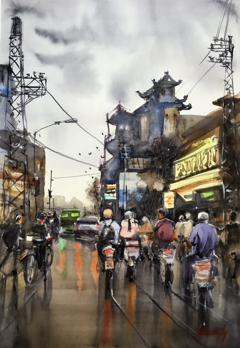 (CreativeWork) Streetscape 02 by Phuong Ly. watercolour. Shop online at Bluethumb.