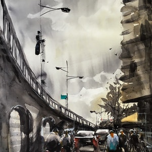 (CreativeWork) Streetscape 04 by Phuong Ly. watercolour. Shop online at Bluethumb.