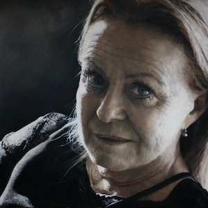 (CreativeWork) Complex Simplicity - Jacki Weaver by Jaq Grantford. oil-painting. Shop online at Bluethumb.