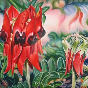 (CreativeWork) Pilbara Red by Delma White. oil-painting. Shop online at Bluethumb.