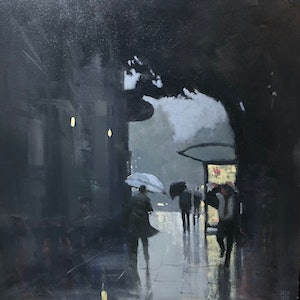 (CreativeWork) Town Hall Winter - rainy cityscape original 60x60cm ready to hang by Mike Barr. oil-painting. Shop online at Bluethumb.