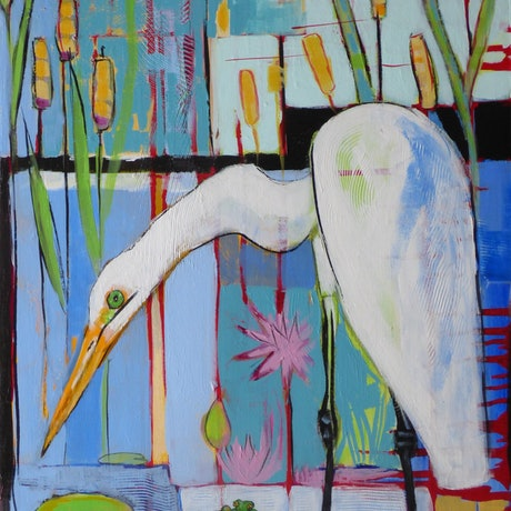 (CreativeWork) Hunting for frogs - Large Egret by Lyn Watts. Acrylic Paint. Shop online at Bluethumb.