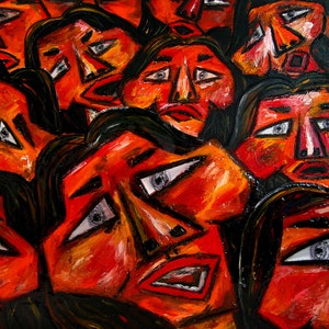 (CreativeWork) Faces in the Crowd by Karen Elzinga. mixed-media. Shop online at Bluethumb.