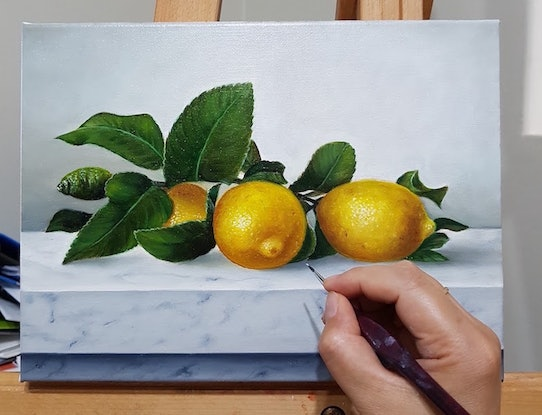 (CreativeWork) Lemons on marble bench - Still life oil painting by Natasha Junmanee. Oil Paint. Shop online at Bluethumb.