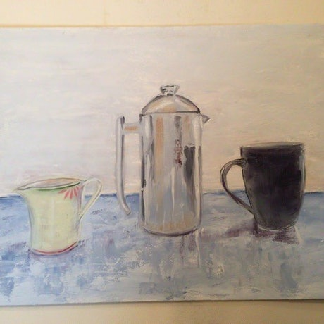 (CreativeWork) Still life with coffee urn by Paul Bartholomeusz. Oil Paint. Shop online at Bluethumb.