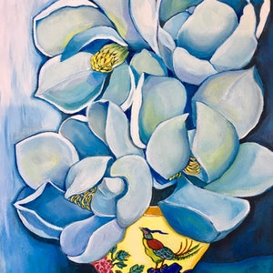 (CreativeWork) Magnolias in Yellow Vase by Natasha Ruffio. arcylic-painting. Shop online at Bluethumb.