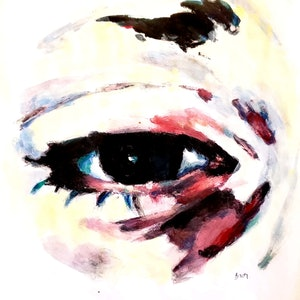 (CreativeWork) Eye Study 1801192 by Rebecca lam. arcylic-painting. Shop online at Bluethumb.