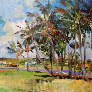 (CreativeWork) Wind in coconut palms by Elena Churilova. oil-painting. Shop online at Bluethumb.