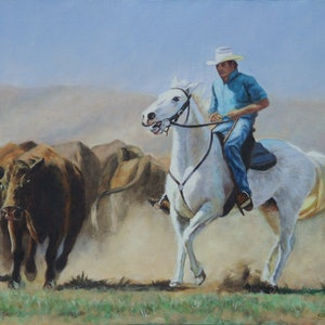 (CreativeWork) Hot, Dusty Work by Craig Taylor. oil-painting. Shop online at Bluethumb.