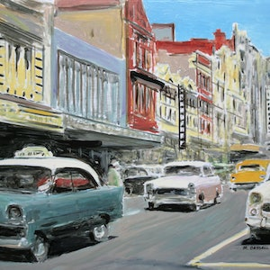 (CreativeWork) Collins Street, Hobart c.1962 by Michael Bessell. oil-painting. Shop online at Bluethumb.