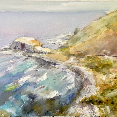 (CreativeWork) Cape Schanck Coastal Path , Victoria  by Geoff Stanistreet. Watercolour Paint. Shop online at Bluethumb.
