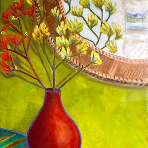 (CreativeWork) Kangaroo Paws in Red Vase by Kerry Ann Harvey. #<Filter:0x0000556f5d3fb0c0>. Shop online at Bluethumb.
