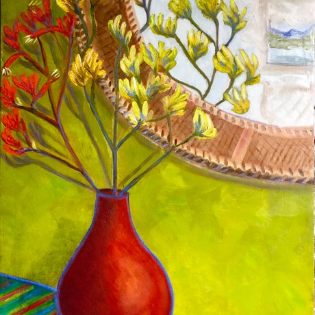 (CreativeWork) Kangaroo Paws in Red Vase by Kerry Ann Harvey. Oil Paint. Shop online at Bluethumb.