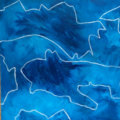(CreativeWork) Blue Dream 2 by Kitty Berton. Acrylic Paint. Shop online at Bluethumb.