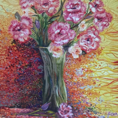 (CreativeWork) Quirky Carnations by Ericka Baker. Acrylic Paint. Shop online at Bluethumb.