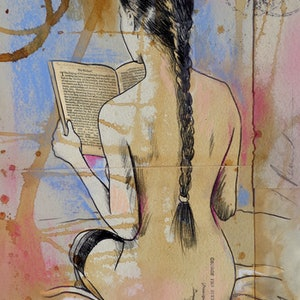 (CreativeWork) SHE READS by loui jover. drawing. Shop online at Bluethumb.