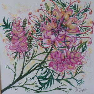 (CreativeWork) Grevillea 1 by Jo Taylor. arcylic-painting. Shop online at Bluethumb.