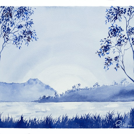 (CreativeWork) Ewen Maddock Dam by Rebecca Phillips. Watercolour Paint. Shop online at Bluethumb.