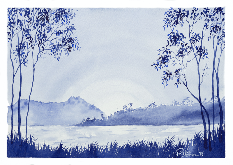 (CreativeWork) Ewen Maddock Dam by Rebecca Phillips. watercolour. Shop online at Bluethumb.