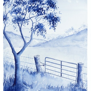 (CreativeWork) The Rusty Gate by Rebecca Phillips. watercolour. Shop online at Bluethumb.