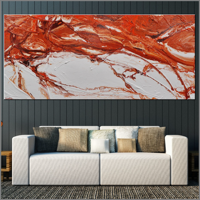 (CreativeWork) Jupiter Rising  270cm x 120cm Rust Ochre Oxide Textured Acrylic Abstract Gloss Finish FRANKO by _Franko _. arcylic-painting. Shop online at Bluethumb.