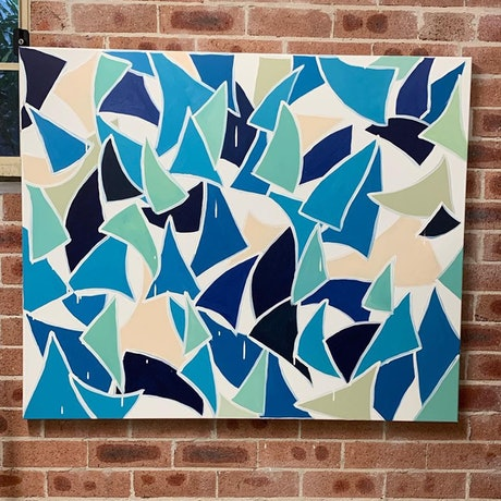 (CreativeWork) Fins, sails and waves by Anna Constantine. Acrylic. Shop online at Bluethumb.