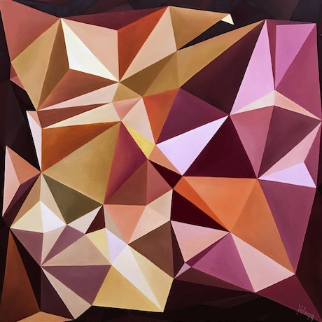 (CreativeWork) Before sunrise - geometric abstraction colourful oil painting by Yelena Revis. Oil Paint. Shop online at Bluethumb.