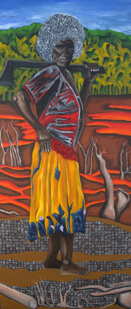 (CreativeWork) Clara with Axe by Narelle Cridland. oil-painting. Shop online at Bluethumb.
