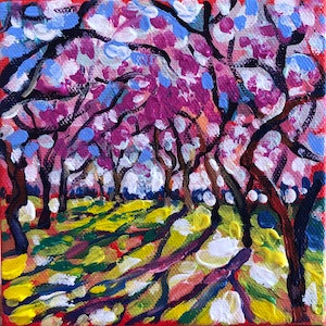 (CreativeWork) Spring in a local park by Valentyna Crane. arcylic-painting. Shop online at Bluethumb.