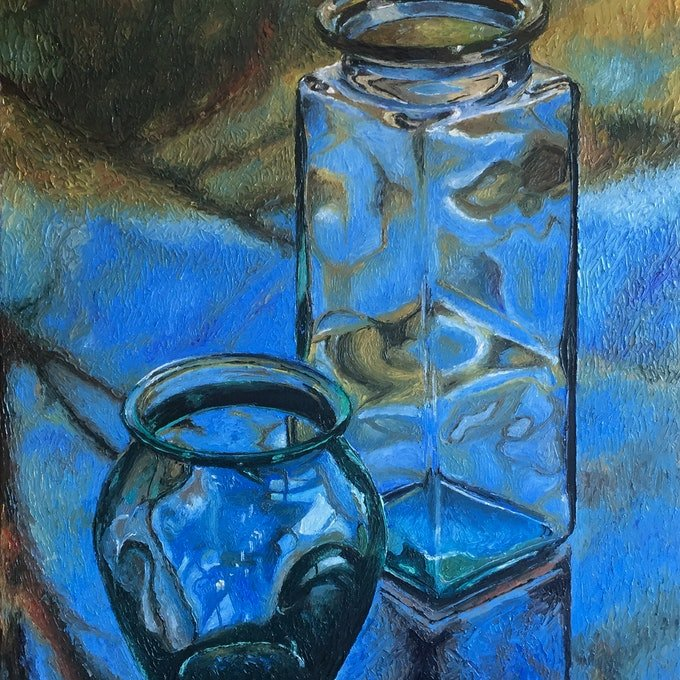 (CreativeWork) Jars on glass table by Paul Brandner. oil-painting. Shop online at Bluethumb.