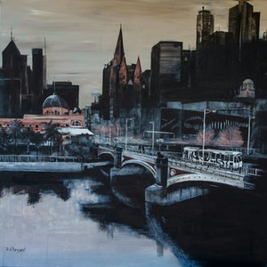 (CreativeWork) Melbourne City Skyline by Rosa d'Argent. acrylic-painting. Shop online at Bluethumb.