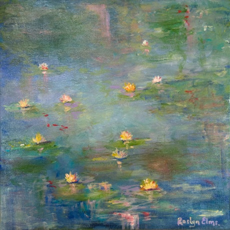 (CreativeWork) Waterlilies on Pond by Roslyn Elms. Acrylic Paint. Shop online at Bluethumb.