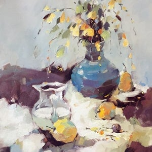 (CreativeWork) Summer Fruit & Water Jug by Li Zhou. oil-painting. Shop online at Bluethumb.