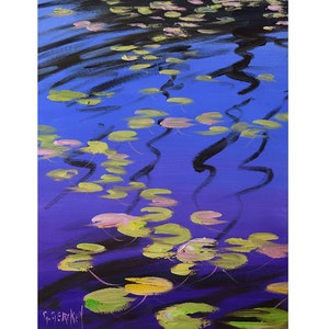 (CreativeWork) lily pod reflections by Graham Gercken. oil-painting. Shop online at Bluethumb.