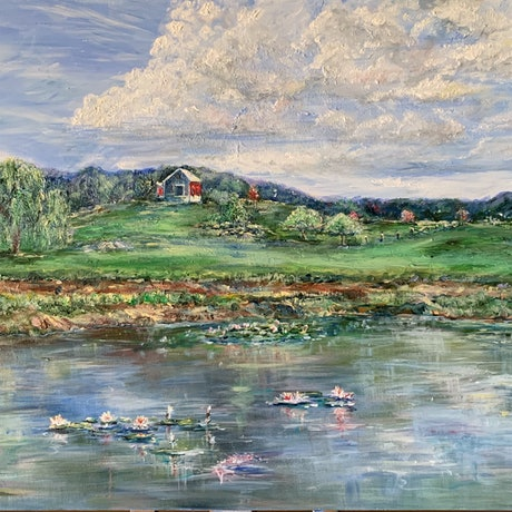 (CreativeWork) The Farm by Roslyn Elms. Acrylic Paint. Shop online at Bluethumb.