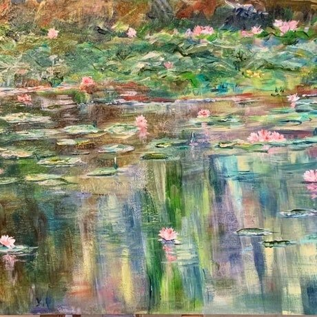 (CreativeWork) Faulconbridge Pond by Roslyn Elms. Acrylic Paint. Shop online at Bluethumb.