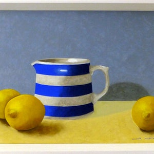 (CreativeWork) Jug with Lemons. 2019. by James McFarlane. oil-painting. Shop online at Bluethumb.