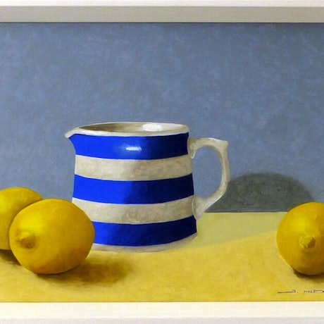 (CreativeWork) Jug with Lemons. 2019. by James McFarlane. Oil Paint. Shop online at Bluethumb.