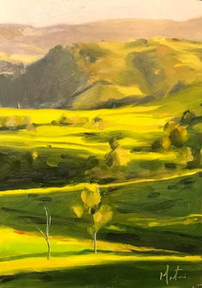 (CreativeWork) Gippsland Green by Chris Martin. Oil Paint. Shop online at Bluethumb.