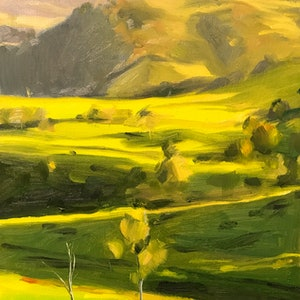 (CreativeWork) Gippsland Green by Chris Martin. oil-painting. Shop online at Bluethumb.