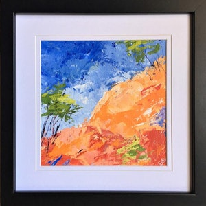 "(CreativeWork) ""Tumble: a Small Splash of Colour"" (Framed) by Eve Sellars. arcylic-painting. Shop online at Bluethumb."