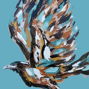 (CreativeWork) The Take Off - Wedge Tailed Eagle by Lisa Fahey. arcylic-painting. Shop online at Bluethumb.