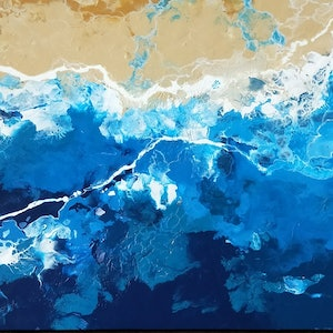 (CreativeWork) Sandbar by Amy Basnett. arcylic-painting. Shop online at Bluethumb.